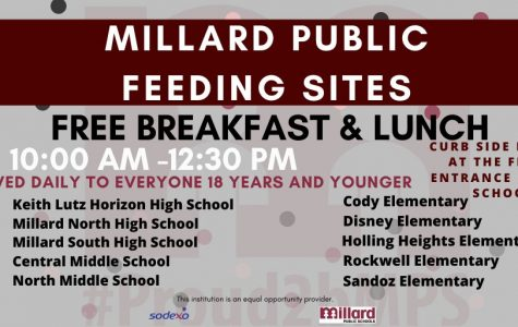 Millard Schools handing out meals to people in the community that need help