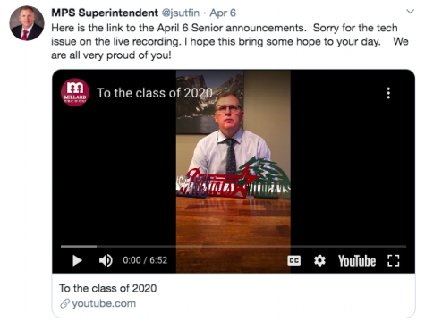 Superintendent Dr. Jim Sutfin went to Twitter to announce plans for seniors. Along with this, the new end of school date was also officially changed.