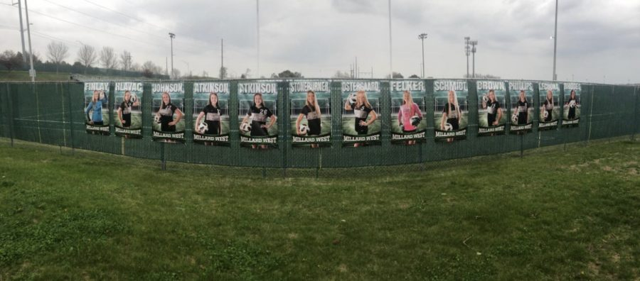 The girls soccer team hung up 13 posters honoring all of their seniors and their dedication to the sport.