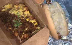 On the top, the Poutine is topped with a plentiful amount of grilled seitan and green onions- an interesting twist for a well-known dish. The bottom shows the hotdog that proved to be a showstopper for all vegan food. Although not the exact taste of a real hotdog, the faux-dog was more savory than the real deal and made me feel like a kid on a hot summer dog again.