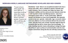 Maw was selected as a Distinguished Language Scholar for the 2019 school year.
