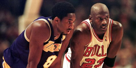 Kobe Bryant (left) and Michael Jordan (right) battle it out in a game during Jordan's final season with the Bulls. Jordan had become a huge mentor for the late Bryant, marking many similarities in his game. ESPN teased that one of the next two episodes released would relate to the relationship between the two legendary guards.