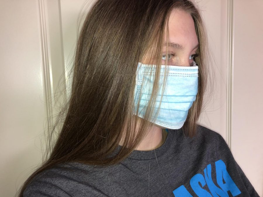 These kinds of masks are seen being worn daily by billions of people, and that number can quickly add up. Disposable masks are meant to help block large-particle droplets, splashes, sprays, or splatter that may contain germs. However, they don't filter or block very small particles in the air that may be transmitted by coughs and sneezes. As you can see from this photo, the edges of the mask are not designed to form a tight seal around the nose and mouth.