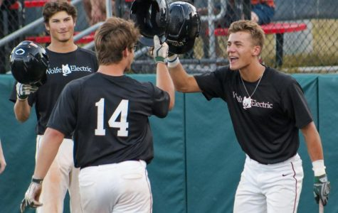 "Former Millard West baseball player and current Nebraska freshman Max Anderson and senior Corbin Hawkins celebrate a home run hit by Anderson in a 6-3 win against Westside in the second round of the metro tournament. Millard West won this game, but ended up losing round 2 of the Metro tournament. ""My favorite game was when we beat Westside at the end of the year,"" head baseball coach Steve Frey said. ""They were the most talented team we played this past summer and it was well pitched by Jaxson Cahoy and we played our most complete game of the summer."""
