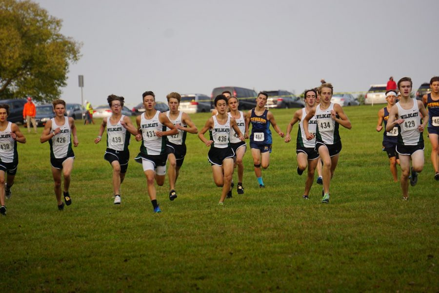 The+Millard+West+boys+varsity+team+starts+the+race+out+strong.+The+Wildcats%E2%80%99+were+able+to+start+this+race+strong+which+allowed+them+to+stay+up+front+the+entire+race.+%E2%80%9CThe+start+is+one+of+the+most+crucial+parts+of+the+race%2C+and+could+be+argued+the+most+important+part%2C%E2%80%9D+Marshall+said.+%E2%80%9CA+good+start+is+needed+in+order+to+get+a+good+placement+because+being+out+in+the+front+of+the+pack+allows+for+better+pacing%2C+and+it+is+easier+to+pass+people+ahead+of+you+when+you+aren%27t+in+a+large+group.%E2%80%9D
