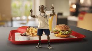 This is the Travis Scott meal with everything included: the tangy barbeque sauce, sprite, fries and the burger.