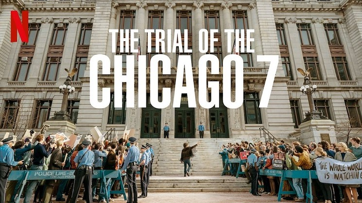 """photo via Netflix Written and directed by Aaron Sorkin, the film follows a group of anti-Vietnam War protesters as they stand trial after being charged with conspiracy and crossing state lines with the intention of inciting riots at the 1968 Democratic National Convention. The Chicago Seven are all from different backgrounds and belong to separate organizations, but in the eyes of the prosecution and Judge Julius Hoffman, they are all the same—members of the """"radical left."""""""