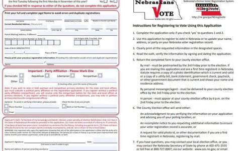 Voters are able to register online via the Nebraska government website, by mail or in-person. Nebraska offers Early Voting access, so they can vote earlier than November 3, using any of these three options once they are registered. The deadline to register is October 16. Anyone wanting to vote in the upcoming presidential election will need to fill out an official registration form.