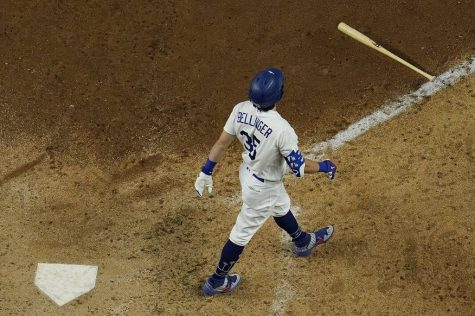 Los Angeles Dodgers outfielder Cody Bellinger drops his bat after his emphatic 7th inning home run in Game 7 of the NLCS. Bellinger needed a legacy check, after having a rough season and postseason following his 2019 MVP campaign. His home run capped off a 3-1 Dodgers comeback, sending them to their third World Series in four years.