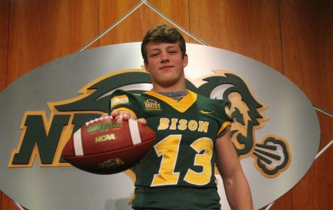 "Senior Wildcat linebacker James Conway poses for an image while on a visit to North Dakota State just days before the pandemic. Conway holds multiple Division One football offers. ""Recruiting has been a tough process now, "" Conway said. ""I haven't been able to visit all the schools I want to, but other than that it has been going pretty solid."""