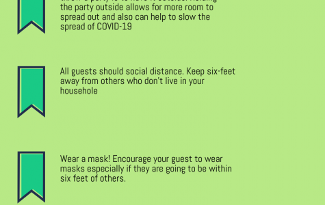 This infographic talks about ways to safely throw a party during a pandemic.