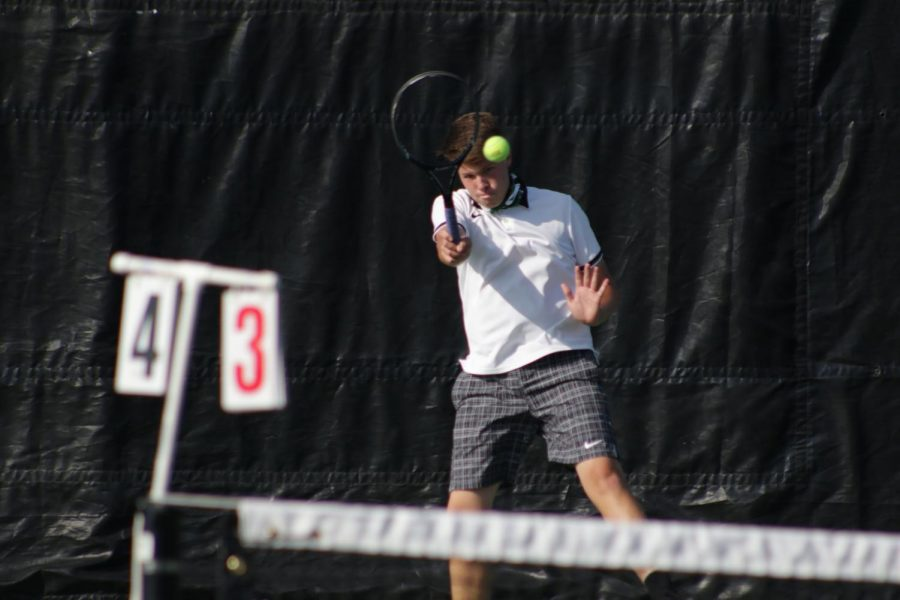 """Senior Palmer Wright wins his match against Gretna. """"It was a hard fought match but toward the end I was feeling strong"""" Wright said. The Wildcats defeated Gretna in the dual with a score of 8-1. """"Finishing the season strong with this win was good for our team leading up to Metros."""""""