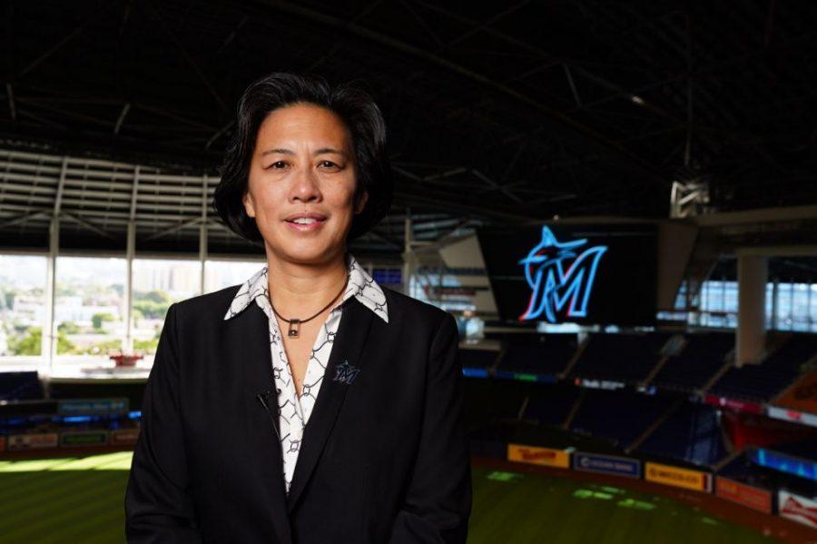Nov 16, 2020; Miami Marlins general manager Kim Ng poses for a photo at Marlins Park.  Photo courtesy of Joseph Guzy/Miami Marlins