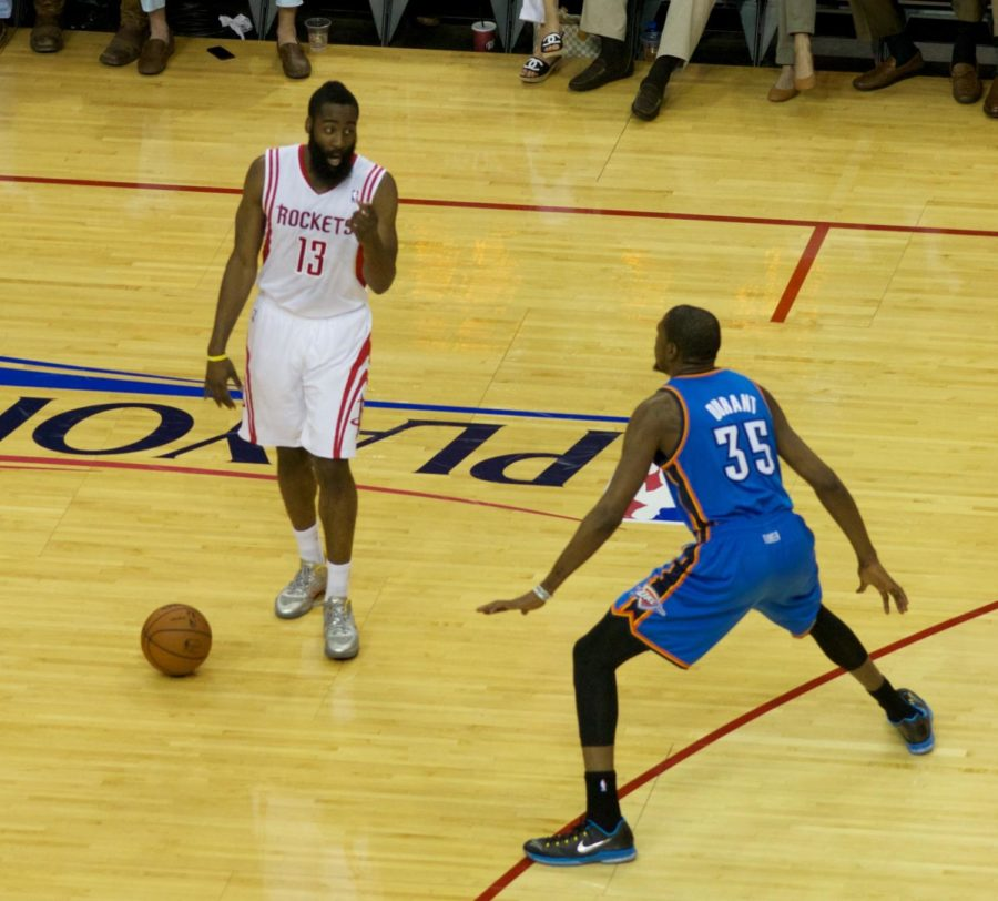 At first, they were teammates in Oklahoma City, foes when James Harden (13) went to Houston, and when Kevin Durant (35) found his way to Golden State, but now reunited, they have formed a three headed monster in with Kyrie Irving. Finding themselves always in the top three and more often ranked first in the NBA Power Rankings, they are Vegas' favorites to win this year's NBA Finals. Photo by Creative Commons.