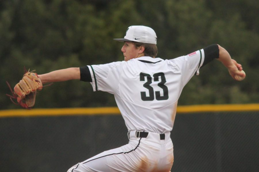 """Senior Corbin Hawkins pitching in a doubleheader against Grand Island on March 28, 2019. Millard West won both games by a combined 11-3 score. """"The team morale is higher than ever,"""" Hawkins said. """"We have some young guys and obviously some transfers who are eager to make an impact early. Most of these guys have not played in a spring game in over a year, so naturally everyone is antsy to get this season rolling."""""""