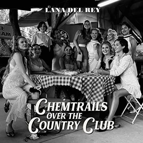 "Lana Del Ray gathers with her friends to strike a pose for the ""Chemtrails Over The Country Club"" album cover."