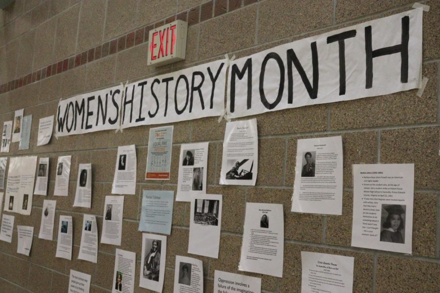 The collage displays prominent women in history with facts about their lives, the hardships they faced and the accomplishments that are worth commemorating throughout the month of March. Posters are also displayed around the various parts of the school containing facts about issues women face, like workplace discrimination and sexual assault