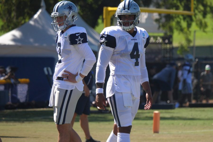 Quarterbacks+Mike+White+%287%29+and+Dak+Prescott+%284%29+hone+in+on+their+skills+during+a+training+camp+in+2018.+Prescott+would+go+on+to+have+a+gruesome%2C+season+ending+injury+in+2020.+After+accepting+a+record+breaking+offer+from+Jerry+Jones+and+the+Dallas+Cowboys%2C+Prescott+hopes+to+set+the+league+on+fire+and+be+the+next+Comeback+Player+Of+The+Year.+Photo+by+Creative+Commons.+%0A