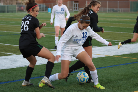 Freshman Alyssa French plying a solid offensive role in a 5-2 loss to Papillion La-Vista South. She had one goal.