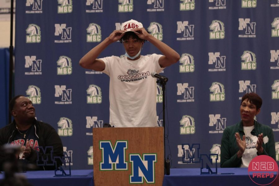 """Senior Hunter Sallis puts on the Gonzaga gear for the announcement of his commitment. Sallis averaged 22.2 points per game and won the state championship in his senior year. """"I was very glad to hear Hunter is going to Gonzaga because of the high success of their program and also because of getting to know their coaches well,"""" Millard North head coach Tim Cannon said. """"Hunter has meant a lot to me because he is a very good person besides a great player and he has meant a lot to her program as he has helped raise the level of where we are."""""""