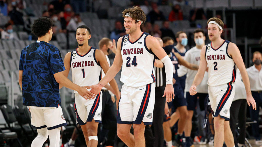 Gonzaga%E2%80%99s+30-0+record+is+held+up+by+the+incredible+play+of+their+big+three.+Freshman+guard+Jalen+Suggs%2C+Senior+forward+Corey+Kispert%2C+and+Sophomore+center+Drew+Timme+all+combine+for+52+points+a+game%2C+well+over+half+of+Gonzaga%E2%80%99s+NCAA+leading+92.1+per+game.+The+top+ranked+team+is+just+two+wins+away+from+becoming+the+first+undefeated+champion+in+over+40+years.+