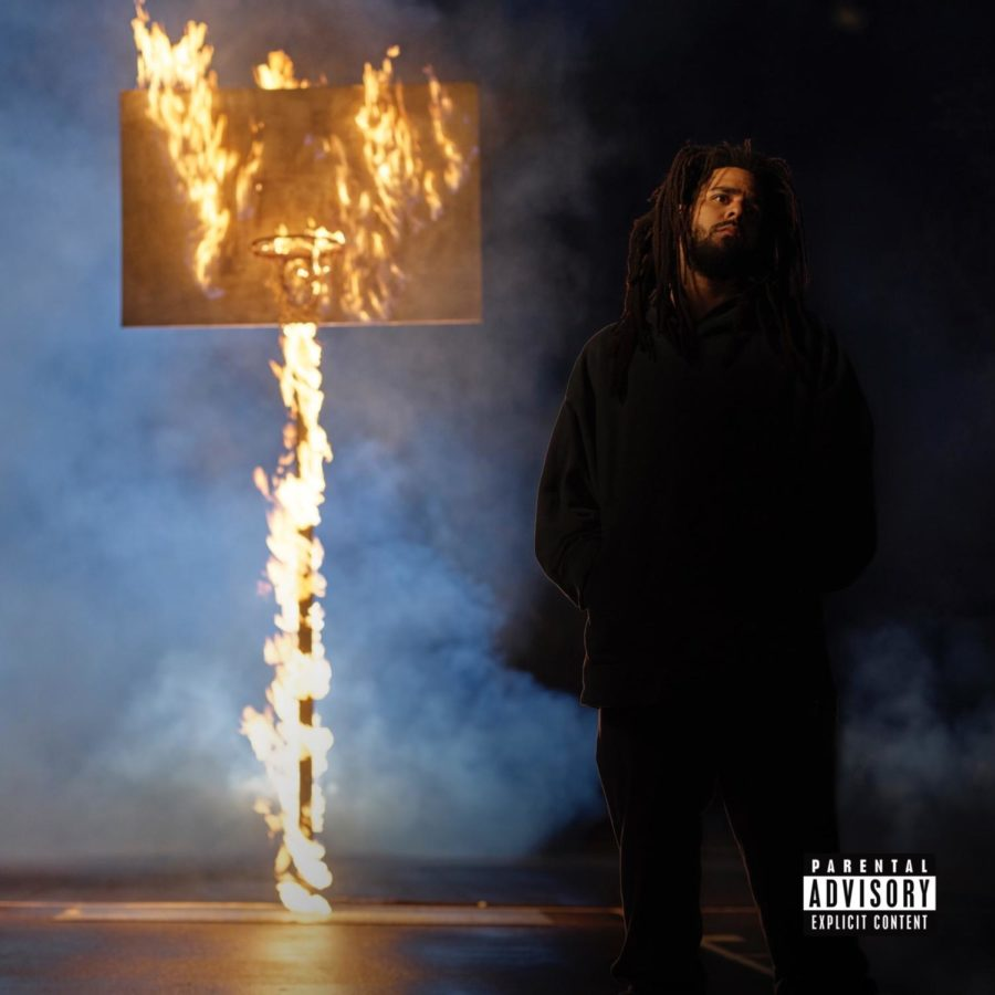 """The cover art for the new J. Cole album """"The Off-Season."""" The cover art was a reference to Cole's days as a high school and college basketball player. Cole recently signed a pro deal in the Basketball Africa League, balancing music and basketball all at the age of 34."""