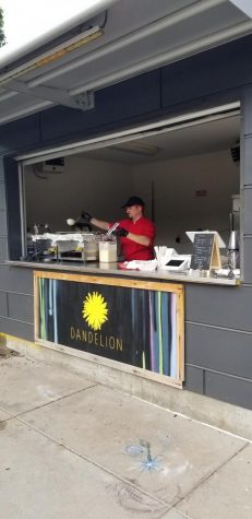 Grachek starts making his crepes at the Dandelion pop-up on 13th and Howard. Downtown gets busy during brunch. Last weekend in one day we sold about 60 crepes. I don't know what Millard Days will look like. It's sort of like fair food and we have competition with basic fried food.