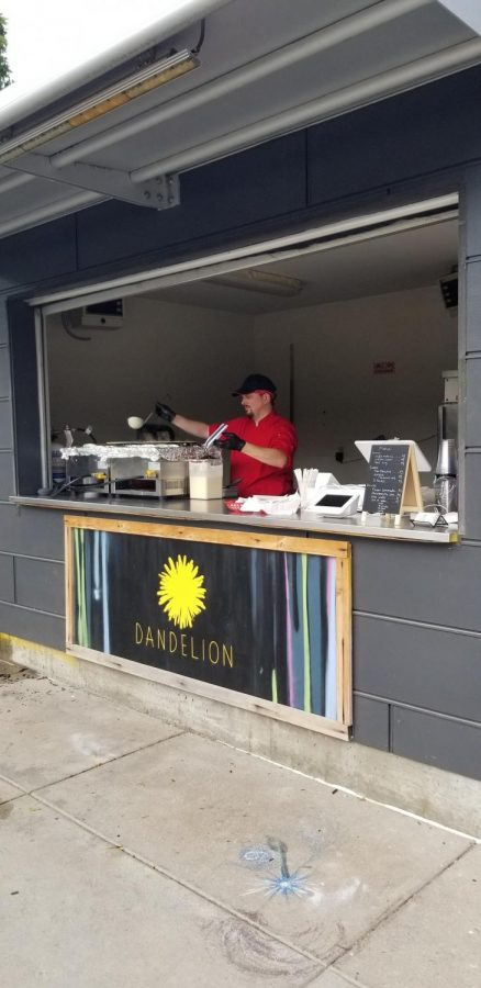 Grachek starts making his crepes at the Dandelion pop-up on 13th and Howard.