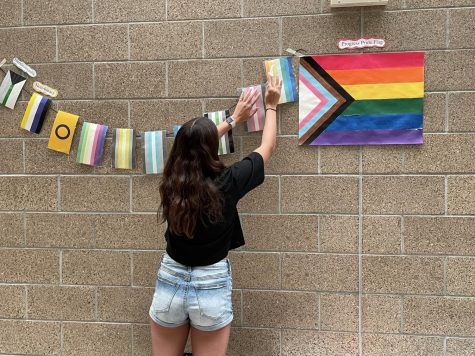 """A member of Justice and Diversity League hangs a banner of flags in front of the library. The flags are part of a large display that is meant to increase inclusion and awareness of the LGBTQ+ community in the school. """"We chose this because the flag is of course a big part of the symbol of the LGBTQ+ community, so it needs to be included,"""" sophomore Maggie Scott said. """"If people see all the pride flags hanging then maybe they will come and read about our display. By making all the other smaller flags for gender identity and sexualities, we hope that everyone that is a part of the community will feel included and welcome."""""""