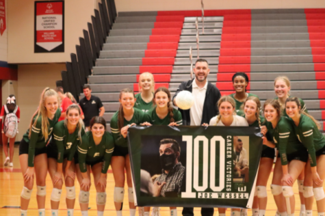 """Head coach Joe Wessel and his team pose for photos after winning his 100th career game. Win number 100 did not come easy as it was against a fierce rival and one of the top teams in the state. """"It was a battle from start to finish,"""" Wessel said. """"Our goal was to stay aggressive, follow the game plan and let things fall into place. We have to maintain confidence, grit and our mental game to continue on the path we set forth to accomplish at the beginning of the season."""""""