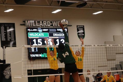 """Junior Alanna Bankston scores a kill to add to the Wildcats lead. Bankston scored seven kills on the night to add to her season total of 202 kills. """"Our motivation going into the game was we wanted to get it over in three,"""" Bankston said. """"We haven't swept many teams lately, we wanted to control the game from the start. That's what really kept us in the game and made sure we played our best game."""""""