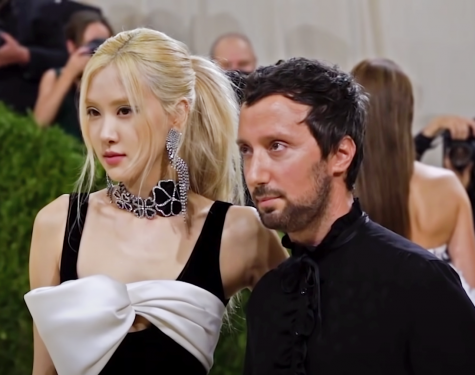 Singer Rosé stands with fashion designer Anthony Vaccarello. Rosé wore a little black dress with a large white bow across the chest. Although chic, the outfit is maybe too basic for the Met Gala.