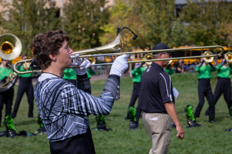 """Performing in Minnesota at this year's BOA Championships, senior Preston Ward plays the trombone. Besides playing his instrument, Ward is one of the Majors and is in charge of monitoring the band as a whole during performances. """"One thing I found challenging while performing was making sure the band stays in tempo at all times,"""" Ward said. """"Throughout the show, some sections were not in sync with each other, and it is my responsibility to bring them back together."""""""